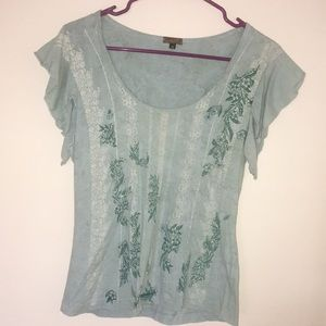 Sea foam green top-designs and tiny shiny beads